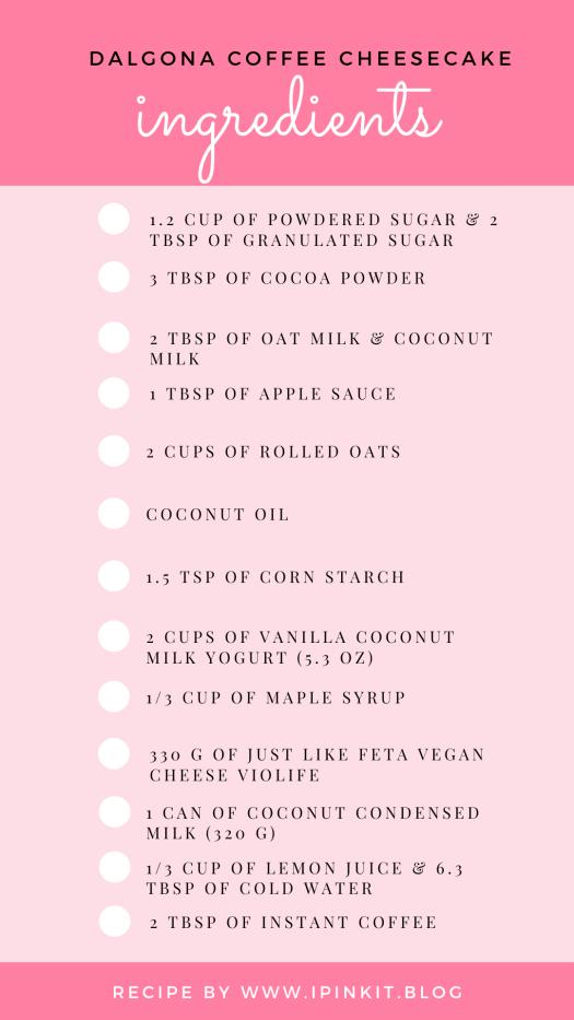 List of ingredients for coffee vegan cheesecake